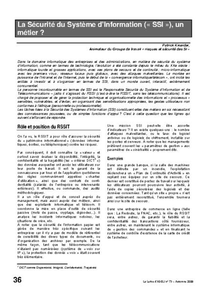 l73p36-La sécurité du système d'information, un métier?