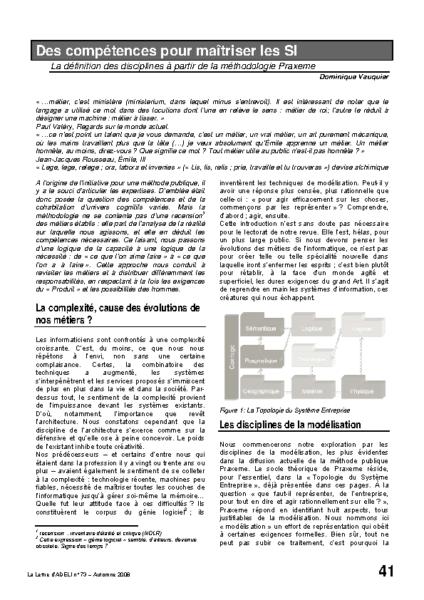 l73p41-Des compétences pour maîtriser les SI