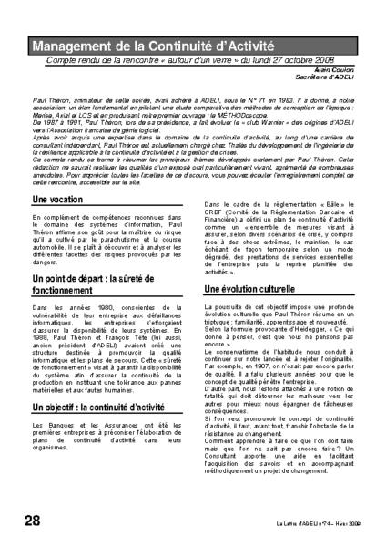 l74p28-Management de la continuité d'activité