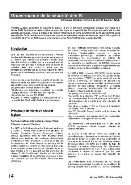L75p14-Gouvernance de la sécurité