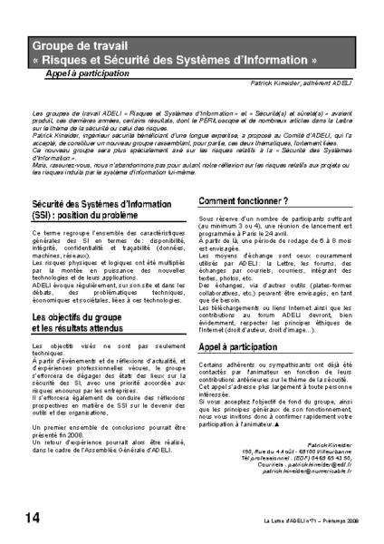 """l71p14-Groupe de travail """"risques et sécurité des  systèmes d'information"""""""