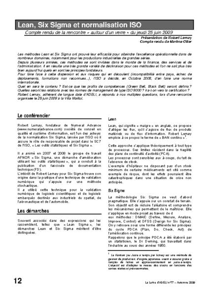 l77p12-Lean, Six Sigma et normalisation ISO