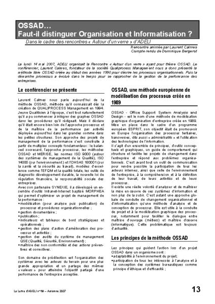 l69p13-OSSAD…Faut-il distinguer organisation et informatisation?