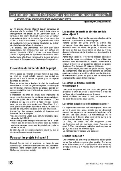 l70p18-Le management de projet: panacée ou pas assez