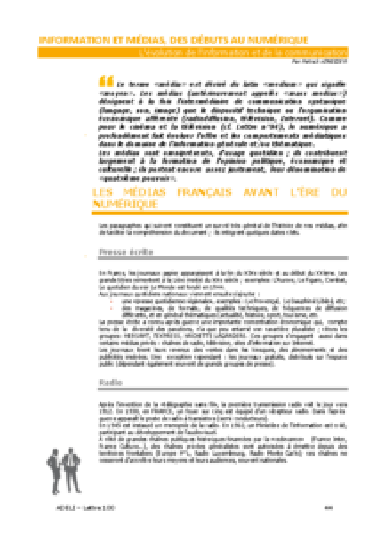 L100p44-Information et médias, des débuts au numérique