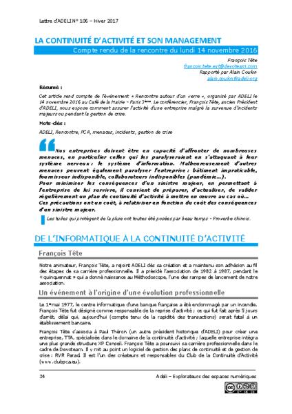 L106p34-La continuité d'activité et son management