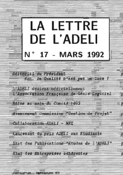 Lettre 17 – Mars 1992