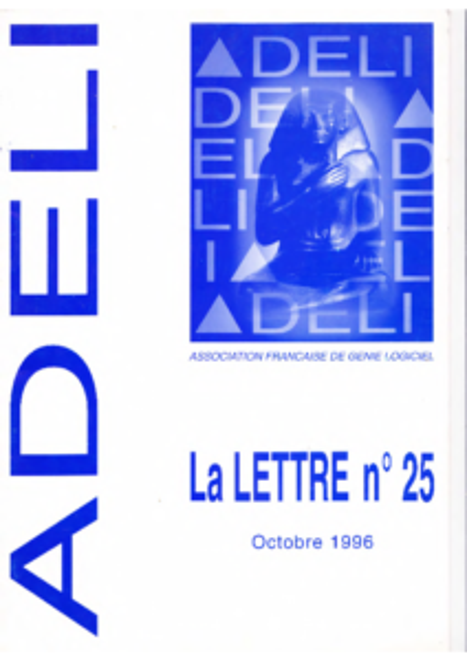 Lettre 25 – Octobre 1996