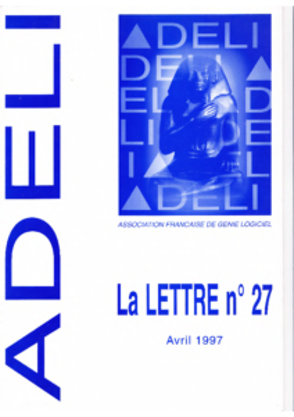 Lettre 27 – Avril 1997