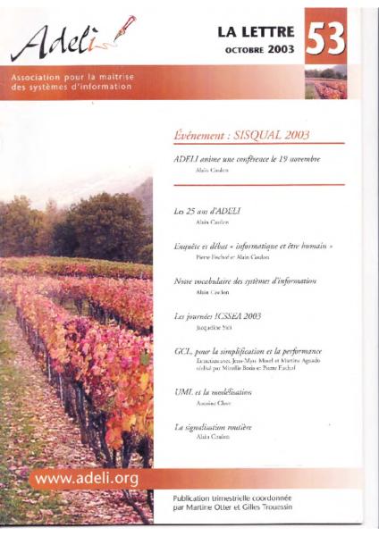Lettre 53 – Automne 2003 – Sisqual 2003