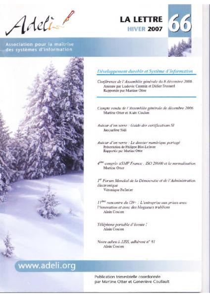 Lettre 66 – Hiver 2007 – Dévelopement durable et système d'information