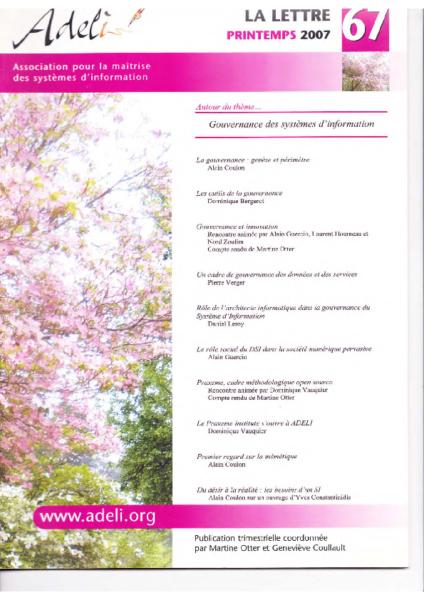 Lettre 67 – Printemps 2007 – Gouvernance des systèmes d'information