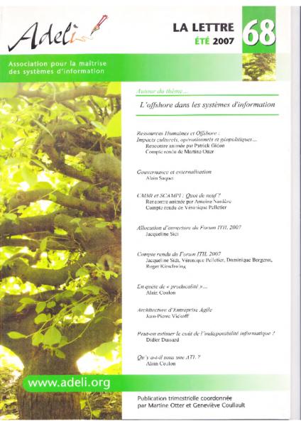 Lettre 68 – Eté 2007 – L'offshore dans les systèmes d'information
