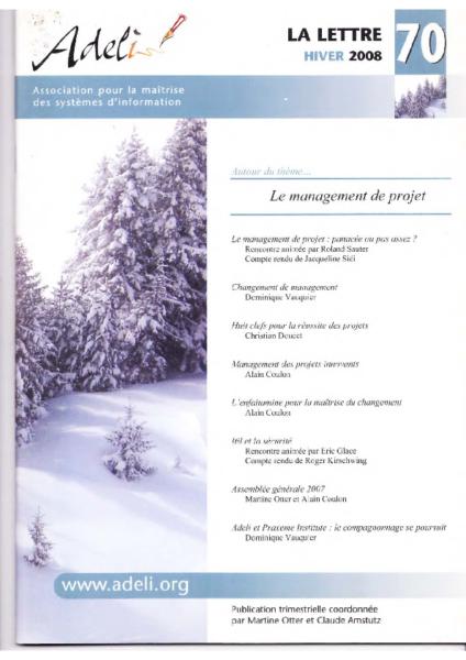 Lettre 70 – Hiver 2008 – Le management de projet