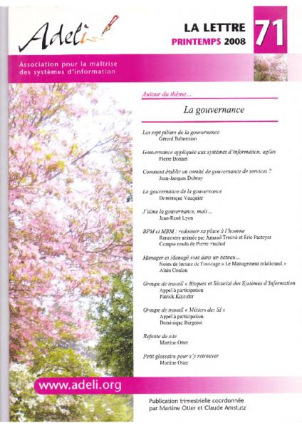 Lettre 71 – Printemps 2008 – La gouvernance