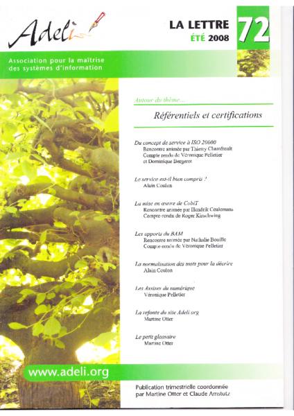 Lettre 72 – Eté 2008 – Référentiels et certifications
