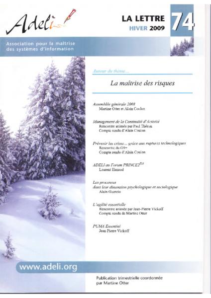 Lettre 74 – Hiver 2009 – La maîtrise des risques