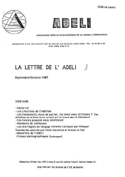 Lettre 3 – Septembre Octobre 1987