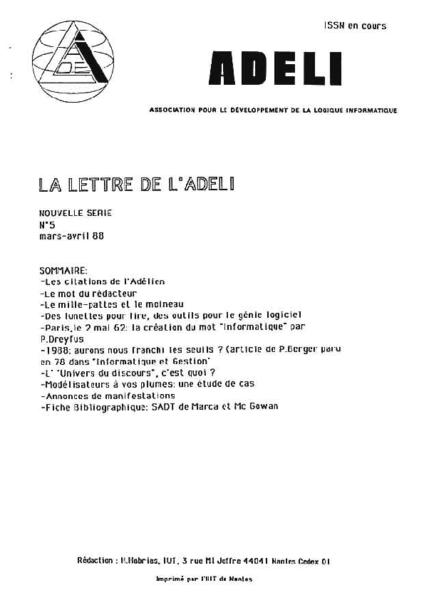 Lettre 5 – Mars Avril 1988
