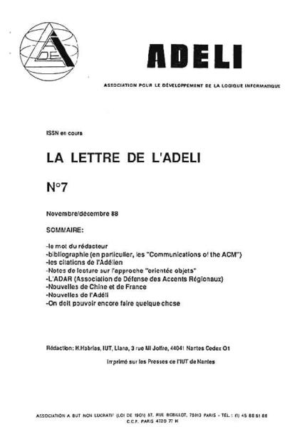 Lettre 7 – Novembre Décembre 1988