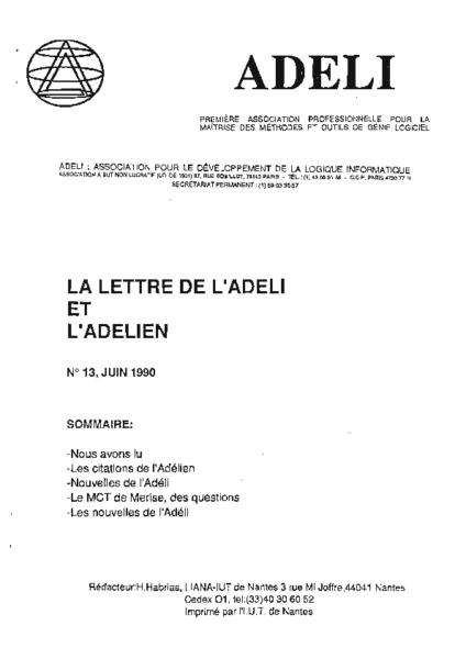 Lettre 13 – Juin 1990