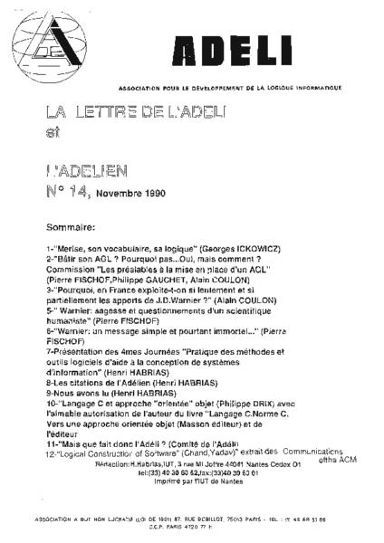 Lettre 14 – Novembre 1990