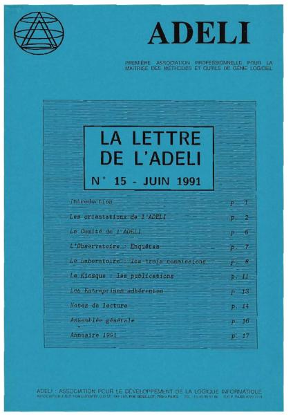 Lettre 15 – Juin 1991
