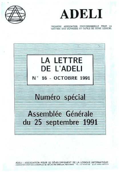 Lettre 16 – Octobre 1991
