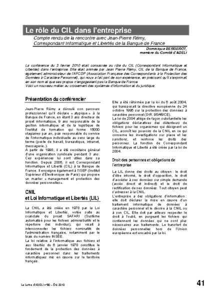 l80p41-Le rôle du CIL dans l'entreprise