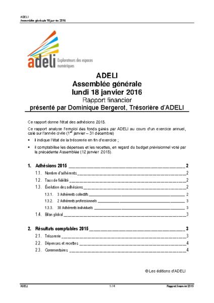 ADELI- Rapport Financier 2015