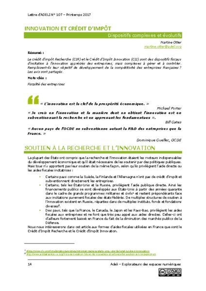 L107p14-Innovation et crédit d'impôt