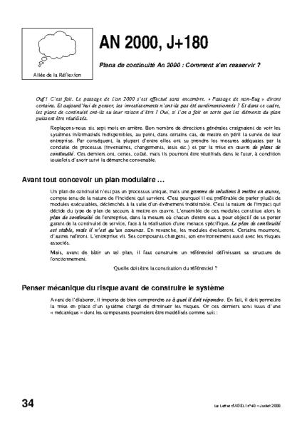 l40p34-AN 2000 + J180 Plans de continuité An 2000  Comment s'en resservir ?
