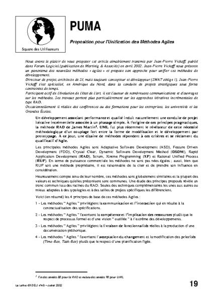 l48p19-PUMA Proposition pour l'Unification des Méthodes Agiles