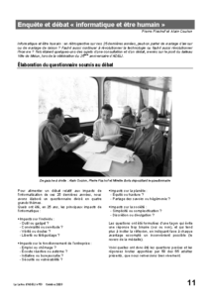 """l53p11-Enquête et débat """"informatique et être humain"""""""