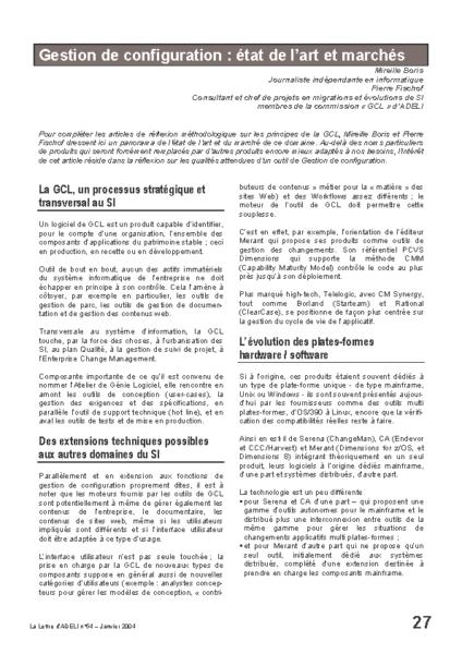 l54p27-Gestion de configuration:état de l'art et marchés