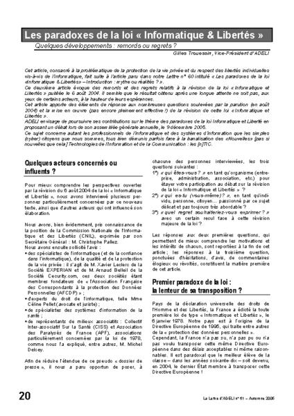 "l61p20-Les paradoxes de la loi ""Informatique & Libertés"""