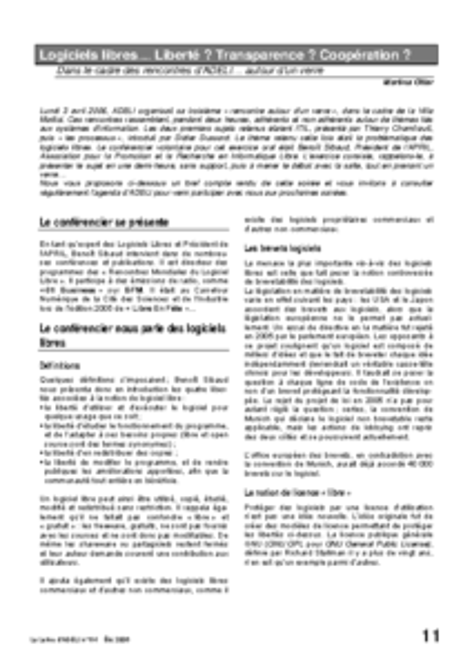 l64p11-Logiciels libres… Liberté? Transparence? Coopération?