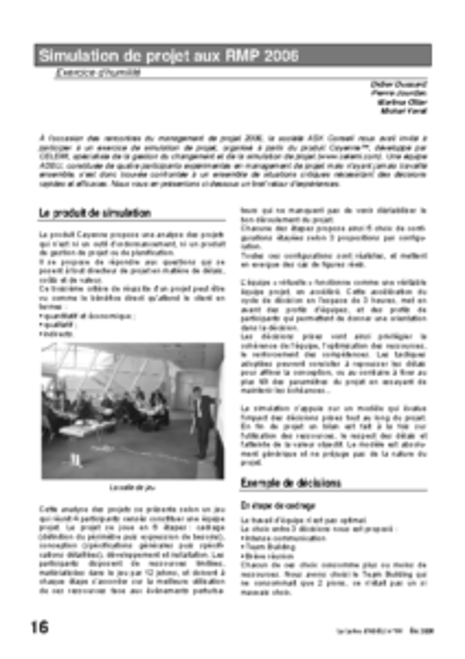 l64p16-Simulation de projet aux RMP 2006