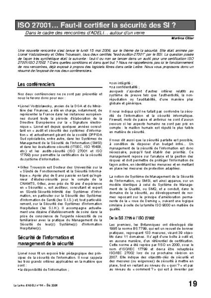 l64p19-ISO 27001… Faut-il certifier la sécurité des SI?