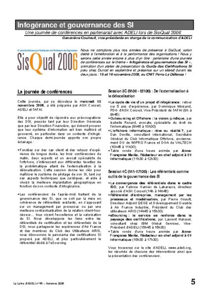 l65p05-Infogérance et gouvernance des SI – ADELI au salon Sisqual2006