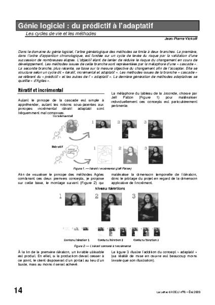 l76p14 – Génie logiciel : du prédictif à l'adaptatif