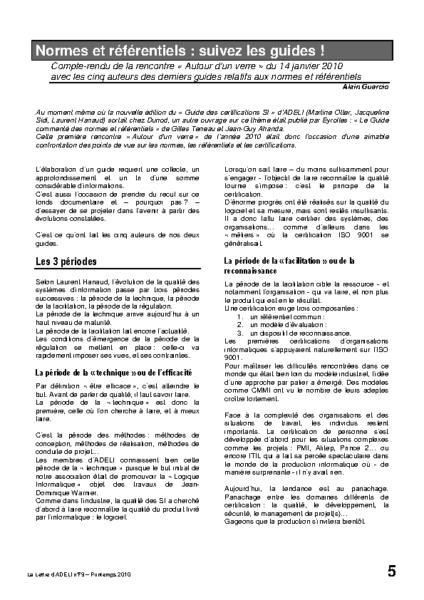 l79p05-Normes et référentiels : suivez les guides!