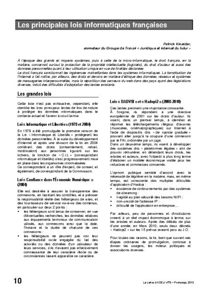 l79p10-Les principales lois informatiques françaises