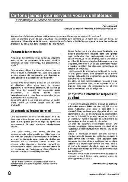 l81p08-Cartons jaunes pour serveurs vocaux unilatéraux