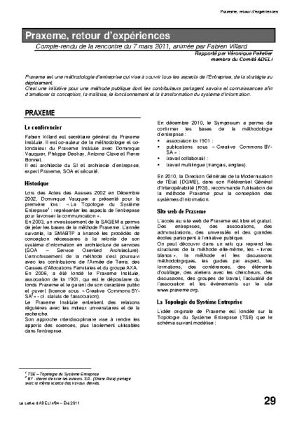 l84p29-Praxeme, retour d'expériences