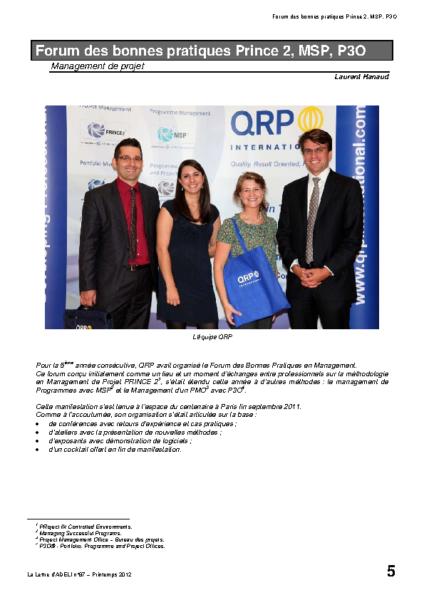 l87p05-Forum des bonnes pratiques Prince2 MSP P3O