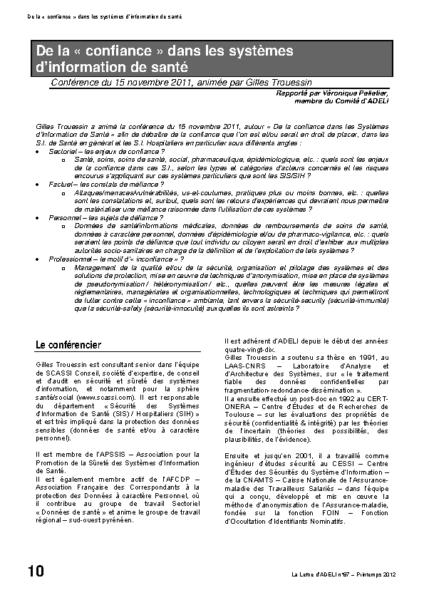 l87p10-De la confiance dans les systèmes d'information de santé