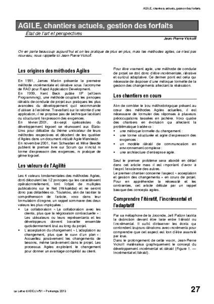 l91p27- AGILE, chantiers actuels, gestion des forfaits