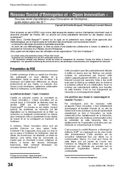 """l96p34-Réseau social d'entreprise et """"open innovation"""""""