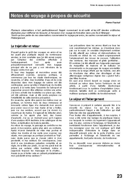 l97p23-Notes de voyage à propos de sécurité